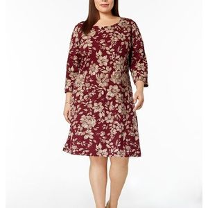 Karen Scott Plus Floral 3/4 Sleeve Dress 1X